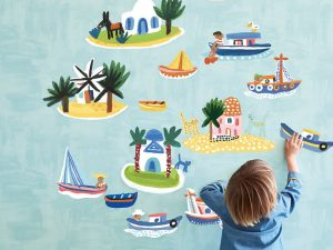 picturebook wall stickers island hoping